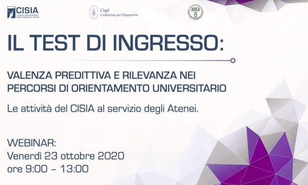"Convegno ""IL TEST DI INGRESSO"" Webinar – Venerdì 23 Ottobre"